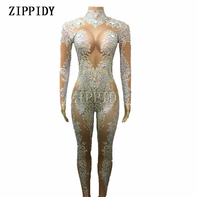 AB Rhinestones Sparkly Jumpsuit Fashion Sexy Nude Big Stretch Dance Costume One piece Bodysuit Birthday Outfit