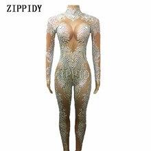 AB Rhinestones נוצץ סרבל אופנה סקסי עירום גדול למתוח ריקוד תלבושות בגד גוף מקשה אחת יום הולדת תלבושת מסיבת חותלות