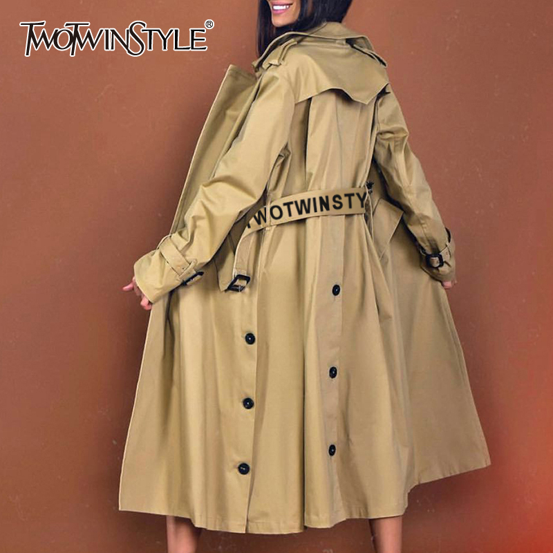 TWOTWINSTYLE Elegant Solid Women's Windbreaker Lapel Collar Long Sleeve Sashes Trench Coat Female 2019 Fashion Autumn New