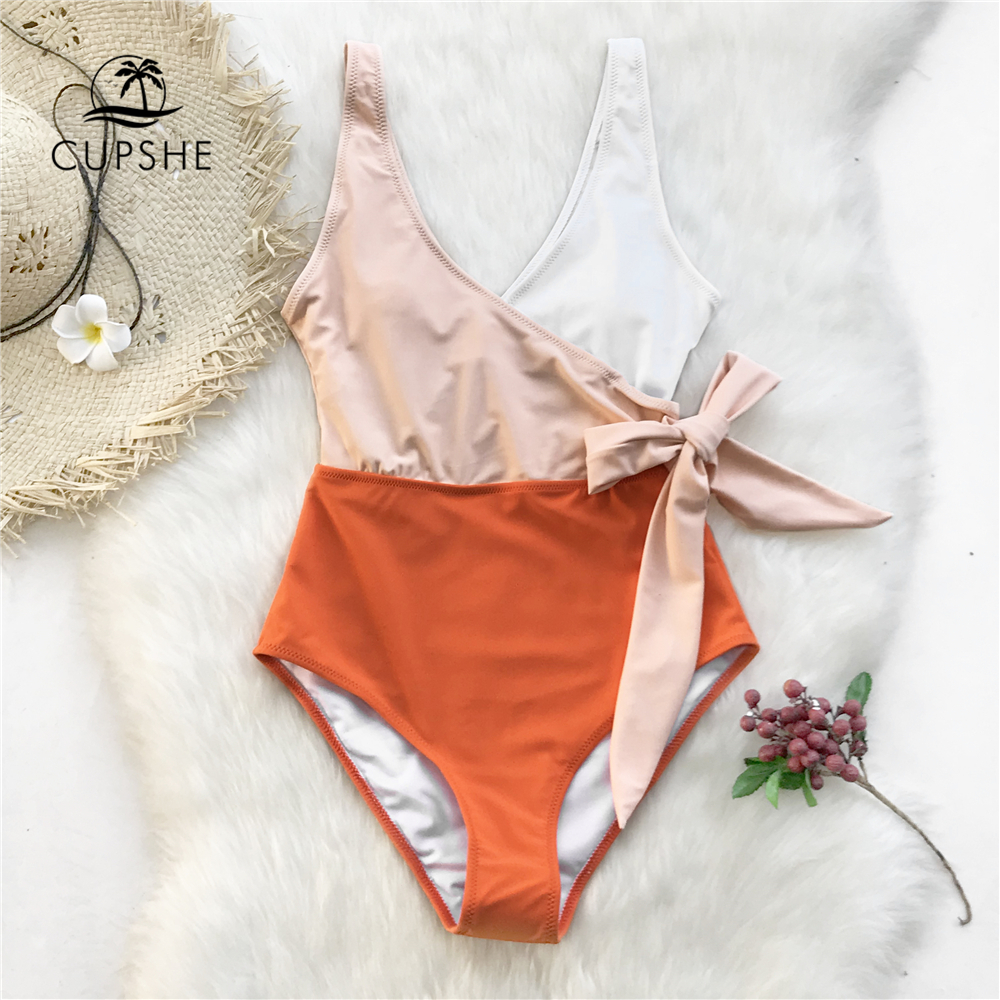 Cupshe Yellow And White Colorblock One-piece Swimsuit Women Patchwork Belt Bow Monokini 2019 V-neck Beach Bathing Suit Swimwear(China)
