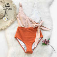 Cupshe amarillo y blanco vintage una pieza traje de baño las mujeres cinturón de arco Monokini 2019 V-cuello playa traje de baño