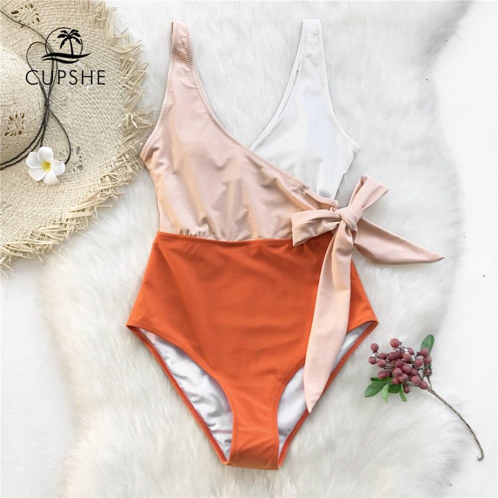 Cupshe Gelb Und Weiß Colorblock einteiliges Badeanzug Frauen Patchwork Gürtel Bogen Monokini 2019 V-ausschnitt Strand Badeanzug Bademode