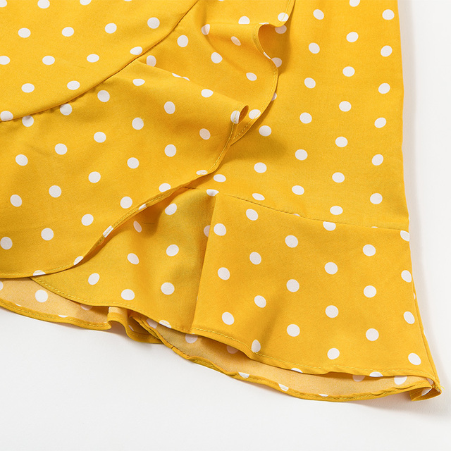 2018 Women Boho Beach Yellow Polka Dot Casual Sundress Female Summer Clothes For Women Backless Strapless Party Ladies Dresses