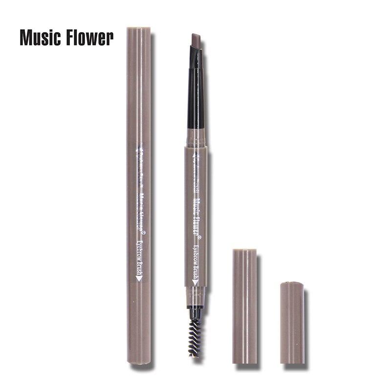 Brand Music Flower 3D Eyes Makeup Set Brown Matte Eyebrow Pencil Womens Eye Brow Enhancer Pen Lasting Make Up Brush 4 Colors in Eyebrow Enhancers from Beauty Health