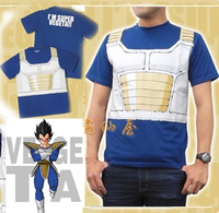 New Anime Dragon Ball Z Costumes Vegeta Cosplay Short Sleeve T shirt Men Summer Tops Tees Free Shipping