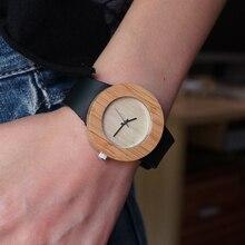 ГК Бежевый женщин Деревянные Часы Бамбук Случае Кожаный Ремешок Классический Vogue Повседневная Кварцевые Часы