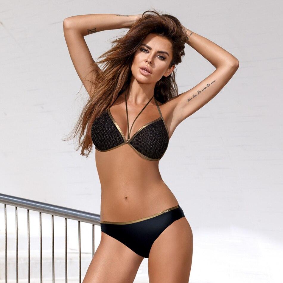 2018 Gold Bordered Swimsuit Sexy Summer Swimwear Women Padded Push Up Bikini Set Women's Swimming Suit Black Patchwork Bikinis