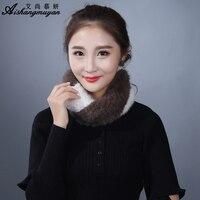 Mink Fur Scarf Women Winter Real Fur Ear Warmer Fashion Elegant Knitted Headbands Thick Head Wrap