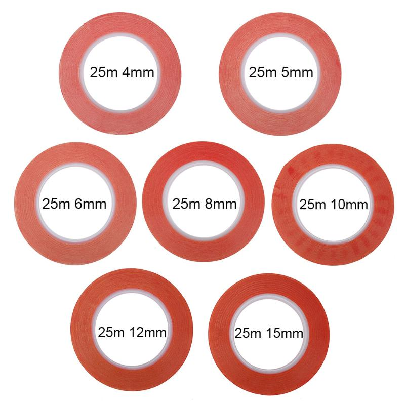 1pc 4/5/6/8/10/12/15mm length 25m Red Acrylic Acid Double Side Adhesive Tape for Mobile Phone LCD Pannel Display Screen Repair цена