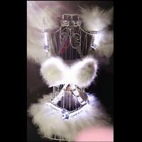 X01 белый цвет светодиодные женщин этап танцевальные костюмы/бюстгальтер/костюм Бальные диско DJ Бар подиума фото платье вечернее шоу