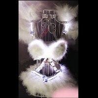 X01 Белый светодиодный свет Женщины сценические танцевальные костюмы/бюстгальтер/костюм бальные костюмы для дискотеки, клуба подиума модел