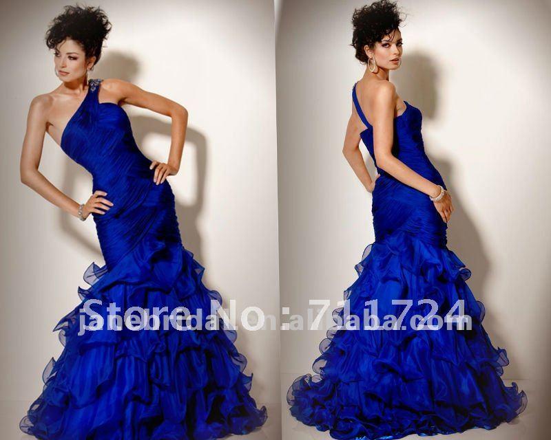 One Shoulder Chiffon Royal Blue Wedding Dresses In Wedding Dresses From Weddi