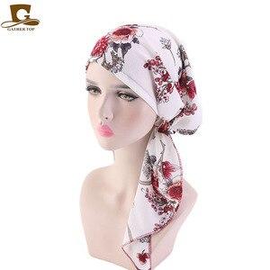 Image 4 - Hồi giáo Trước Buộc Khăn Hóa Trị Beanies Bonnet Mũ Lưỡi Trai Nữ In Hoa Mềm Mại Băng Đô Cài Tóc Turban Gọng Mũ Khăn Trùm Đầu Bọc Ung Thư Phụ Kiện Tóc