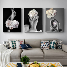 Abstract Girl Flowers Wall Pictures For Living Room Beauty Nordic Poster Art Canvas Painting Picture Home Decor Unframed