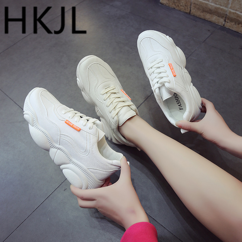 HKJL Little white shoes female students 2019 spring new womens bear cubs casual sports running A639