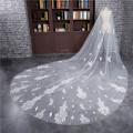 2017 New Long 3 Meter Veu de noiva Wedding Accessories Appliques One-Layer Cut Edge Cathedral Wedding Veil Bridal Veils