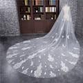 2017 New Long 3 Meter Veu de noiva Wedding Accessories Appliques One-Layer Cut Edge Cathedral Wedding Veil Bridal Veils