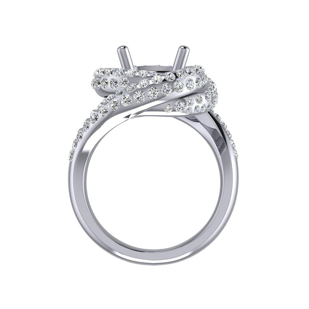 Caimao Nuovo Disegno 8.5 millimetri Rotonda 14k White Gold 1.15ct Naturale Completa Cut Diamond Prong Anello - 5