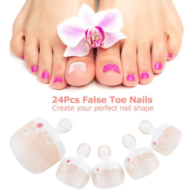24Pcs False Toenail Tips Set French Full Cover Fake Toe Nail Tip For DIY Manicure Decoration
