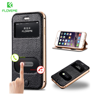 I6 6 Plus Dual Window Case Luxury Genuine Leather Cover For Iphone 6 4 7inch 5