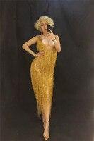 Золотой кисточкой длинное платье носить сексуальное Для женщин блестящие стразы танцевальные платья костюм производительность Празднуйт