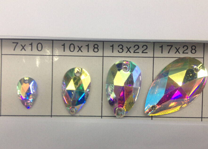 Free shipping~!50~100pcs, 7x12mm,10x18mm,13x22mm,17x28mm  Teardrop crystal AB color Flat Back Sew On Resin stones .