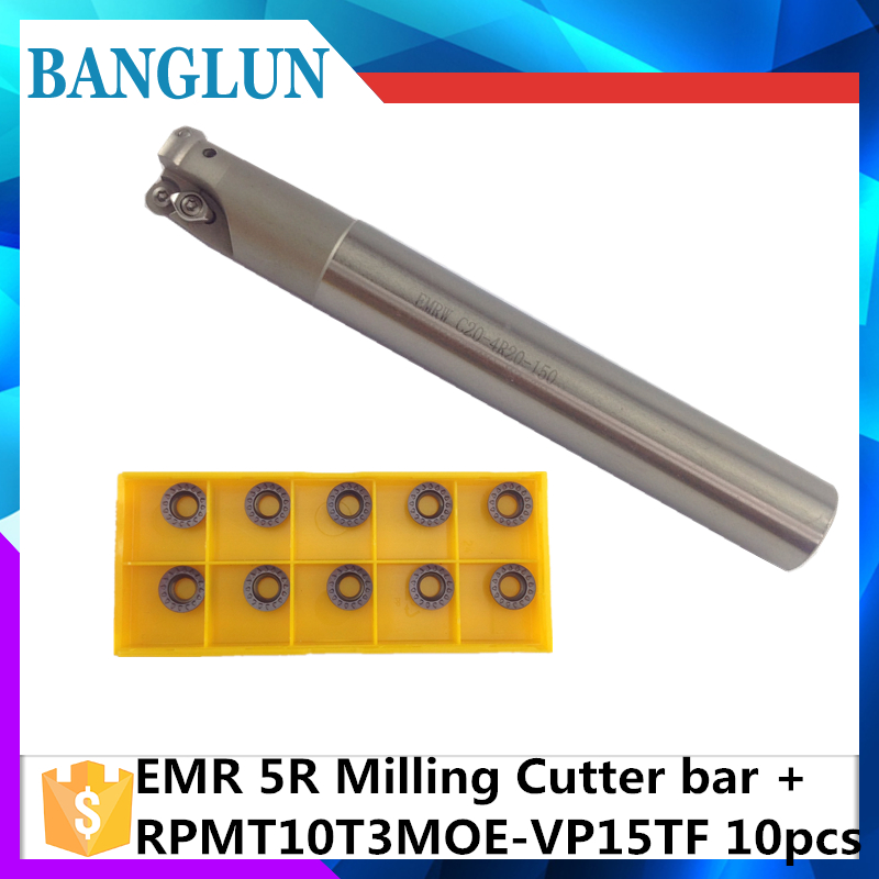 EMR C20 5R20 150 EMR C25 5R25 150 2T +10Psc RPMT10T3  Indexable Shoulder End Mill Arbor Cutting Tools, Milling Cutter Holder milling cutter bap300r c14 15 150 bore indexable shoulder end mill arbor mill cutting tools insert of carbide inserts apmt1135