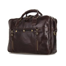 "Nesitu High Quality Vintage Coffee Genuine Leather Briefcase Men Cowhide 14"" Laptop Bag Portfolio Men Messenger Bags #M7201"