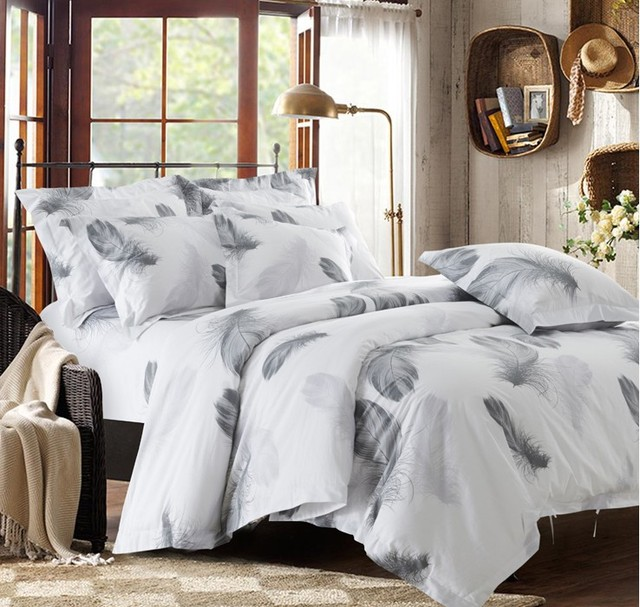 Black And White Bedding Set Feather Duvet Cover Queen King Size Full Twin  Double Bed Sheets