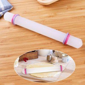 DIY инструмент для выпечки, пластиковый PP антипригарный 23 см белый антипригарный Регулируемый поделок, помадка, торт, валик, помадка, Скалка