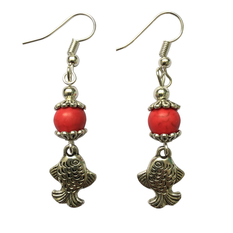 Pure Handmade Jewelry Fashion Tibetan Silver Plated Fish Earrings Red Turquoise Eardrop Dangler Women Accessories Free