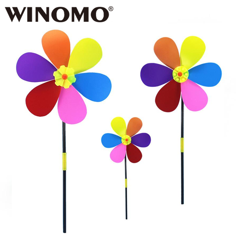 Moverstar Windmill Toys Children Kids Garden Decoration 7 Leaves Colorful Outdoors Spinner