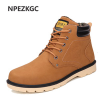 NPEZKGC Men Leather Boots Autumn Winter High Style Waterproof Fashion Outdoor Work Shoes Casual Martin Boot