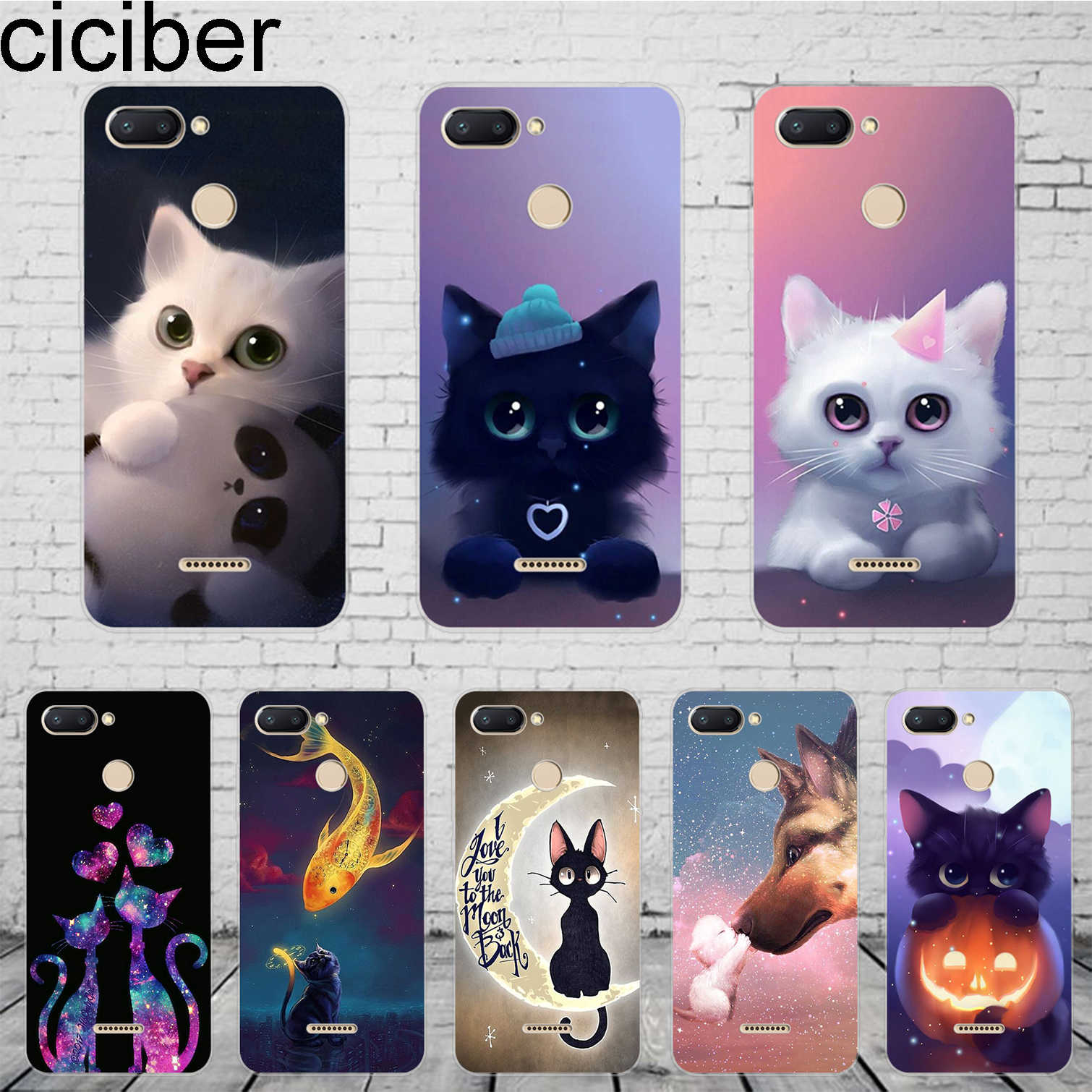 ciciber Cute Animal Cat Cover For Xiaomi Redmi 6 5 4 3 A X S Plus Pro S2 Phone Case For Redmi Note 6 5 4 X A Pro Soft TPU Coque