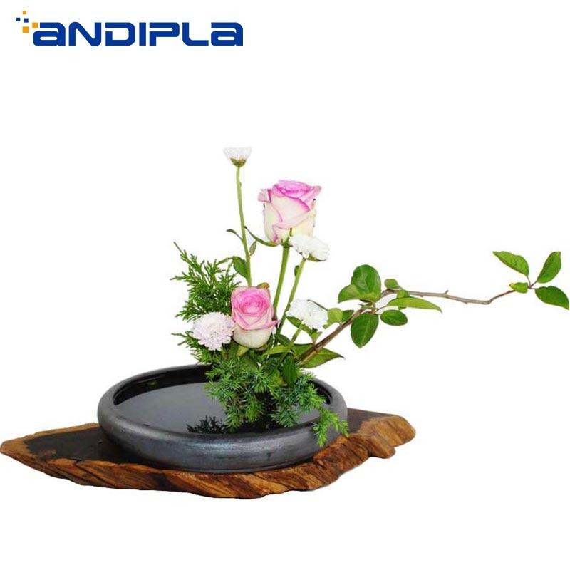 Tradition chinoise Vintage Pot de fleur de table hydroponique Vase fait à la main en céramique grossière poterie conteneurs circulaire plat de stockage