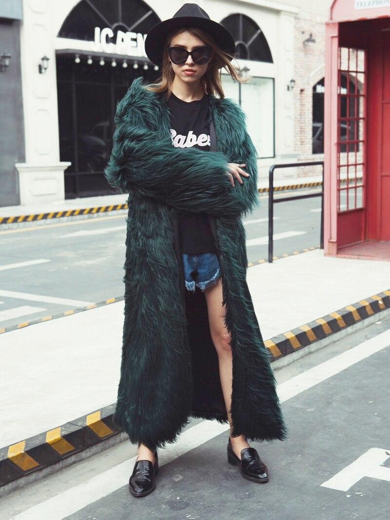 dernière collection chaussures authentiques livraison gratuite Zadorin Rose Veste Fourrure Femmes Longue En Green Longueur ...