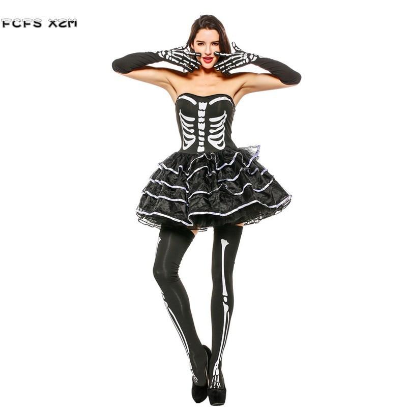 Woman Skull Skeleton tube dress Female Halloween Corpse Bride Costumes Carnival Purim Masquerade Nightclub Horror party cosplays