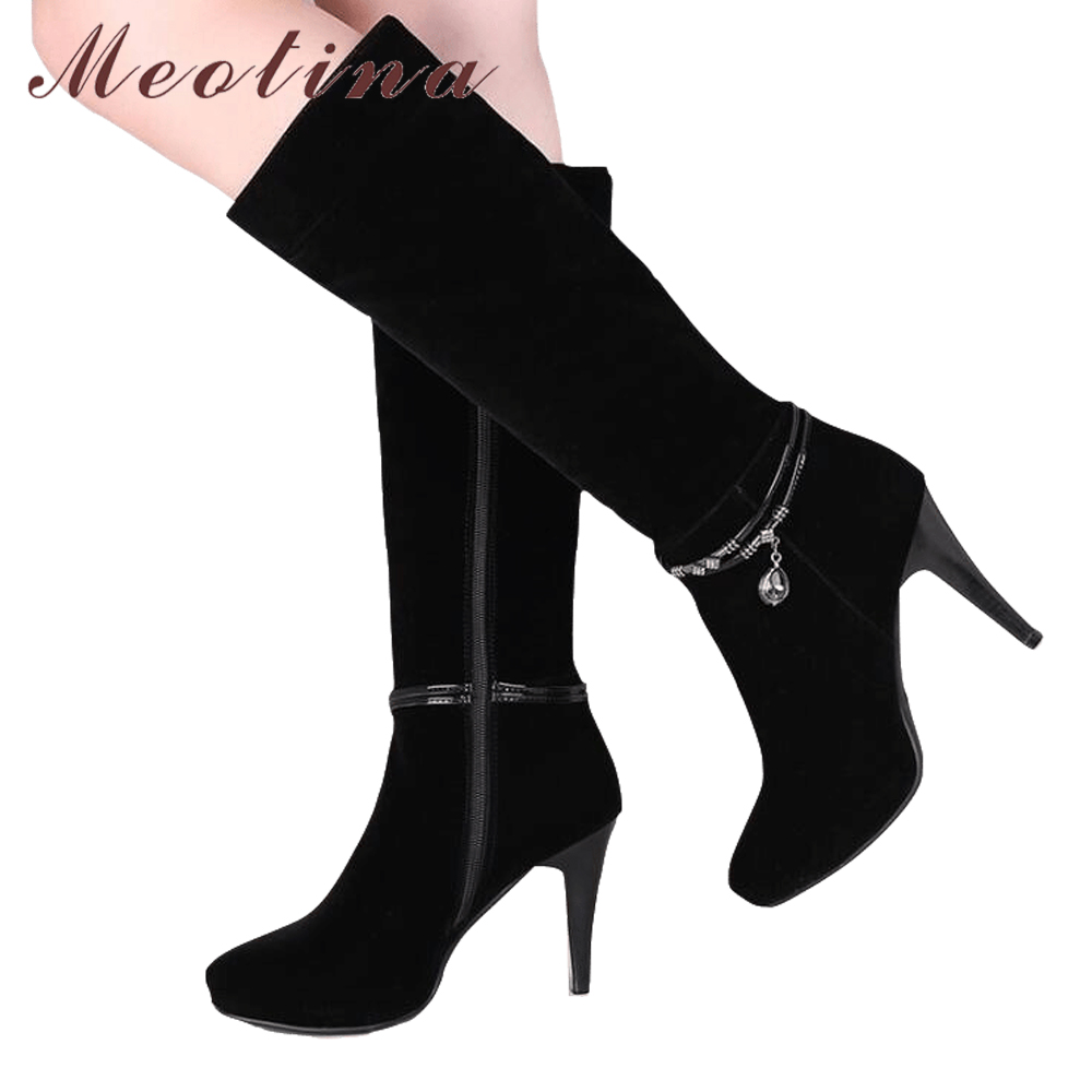 Meotina Women Knee High Boots Platform High Heels Winter Boots Zipper Thin Heels Sexy Ladies Boots Autumn Black Botas MujerMeotina Women Knee High Boots Platform High Heels Winter Boots Zipper Thin Heels Sexy Ladies Boots Autumn Black Botas Mujer