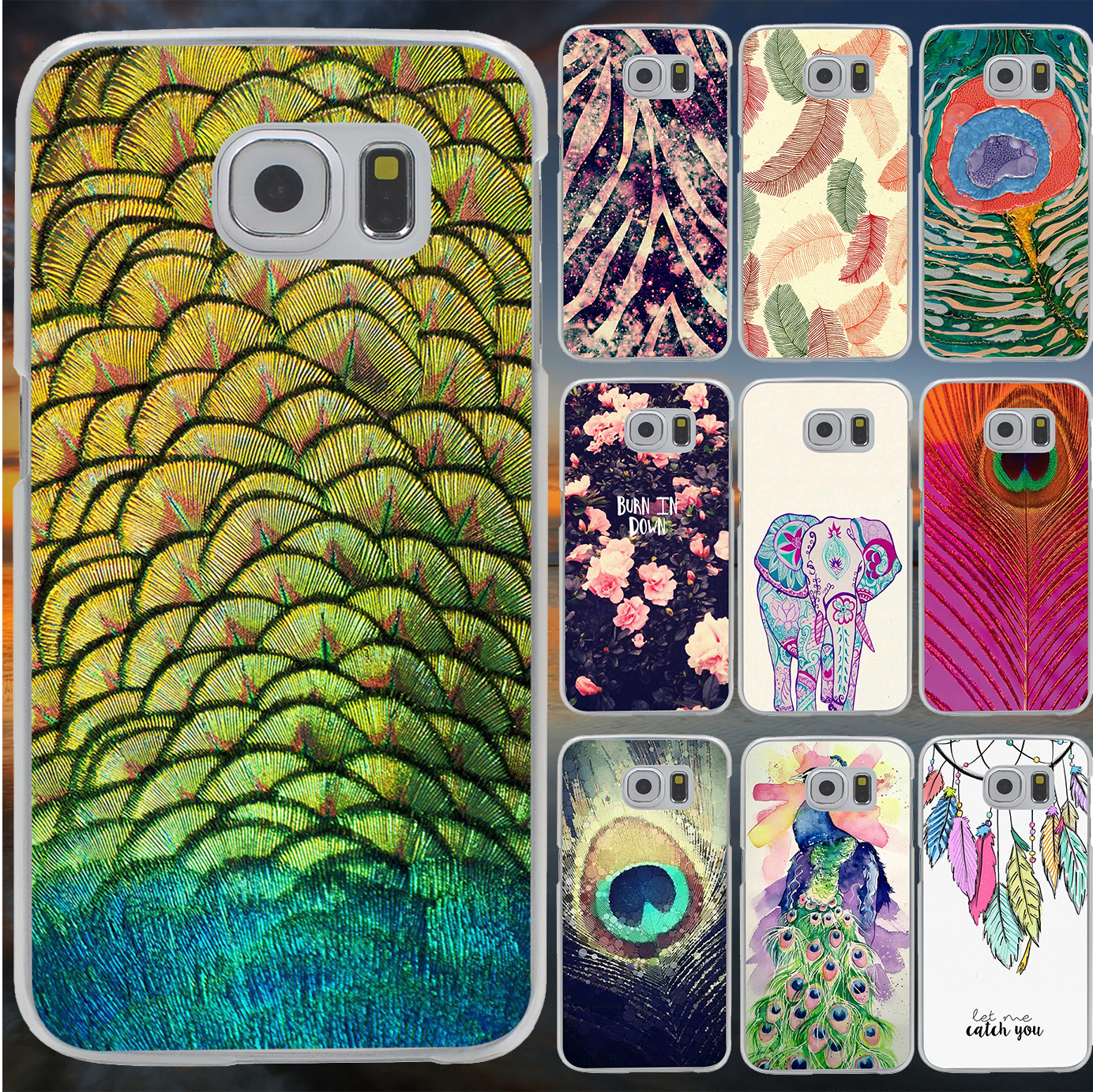 Pu leather case for samsung galaxy a7 2016 a710 peacock feather - Beautiful Luxury Peacock Feather Hard Case Cover For Galaxy A3 A5 A7 A8 J5 J7 Note 2 3 4 5 Grand 2 Prime