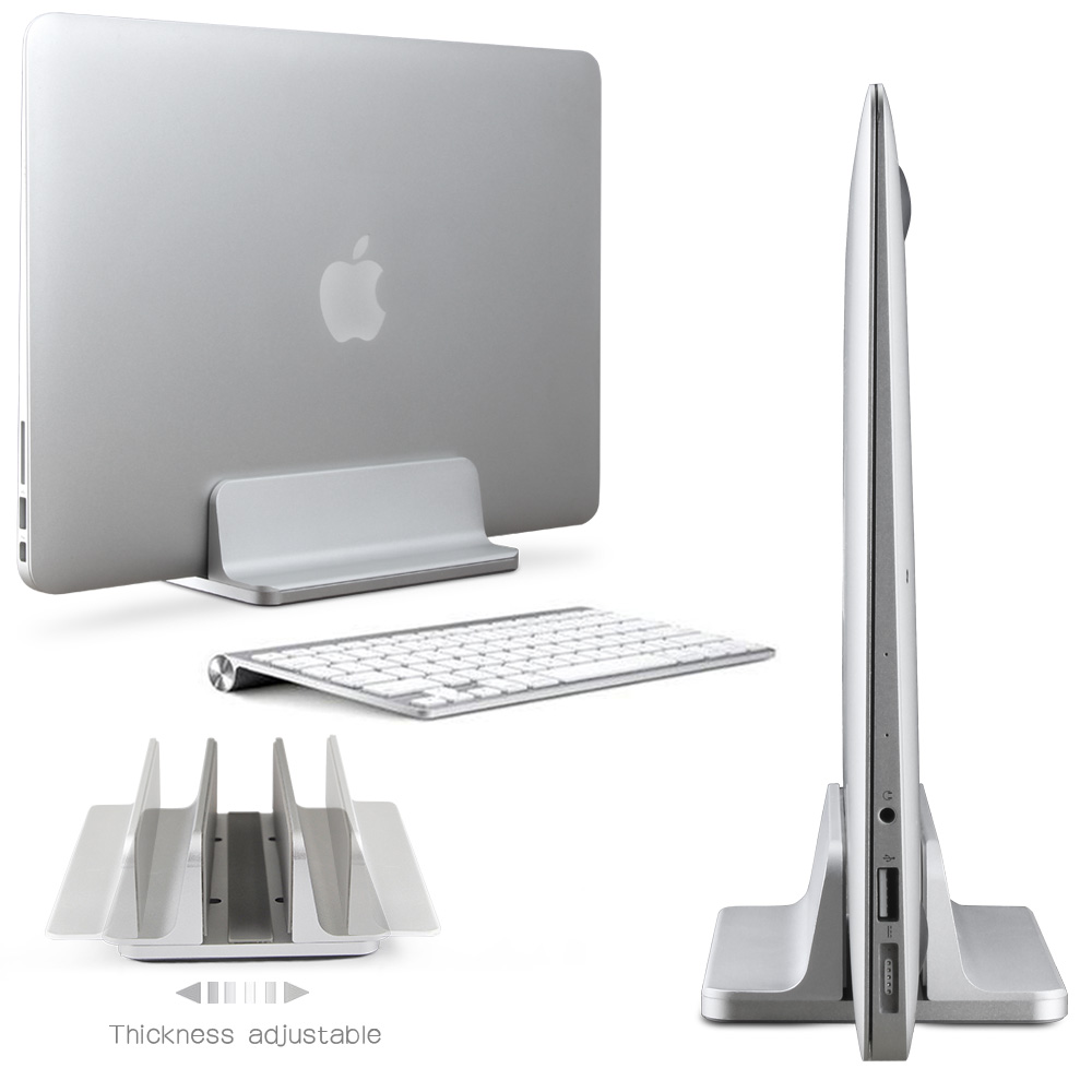 Space-saving Aluminum Vertical Stand for Laptop MacBook Pro/Air , Thickness Adjustable Desktop NoteBooks Holder Erected