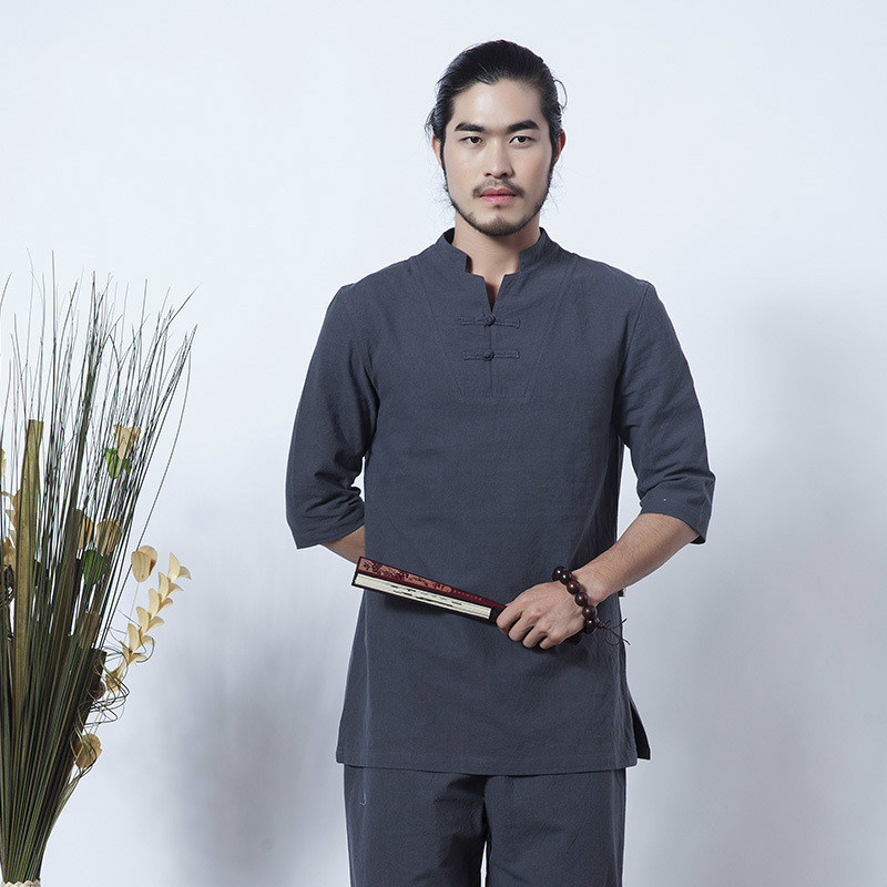 Chinese Tradition Men Suit Loose Trousers Tops Set Tai Chi Zen Meditation Clothing Cotton Linen Outdoor Yoga Clothes brand 2016 spring summer yoga clothing set cotton linen meditation clothes high quality women buddhist set sports suits kk395 20