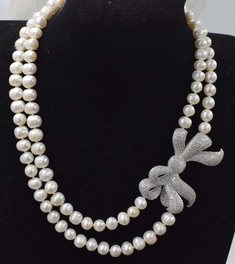 2rows freshwater pearl white near round 8-9mm necklace 17-18inch FPPJ wholesale beads nature image
