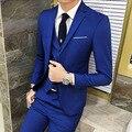 2017 Nuevos Hombres Se Adapta A Una Hebilla Trajes de Marca Chaqueta de Los Hombres Del Vestido Formal Conjunto Traje de Boda de Los Hombres Trajes de Novio Esmoquin (Jacket + Pants + Vest)