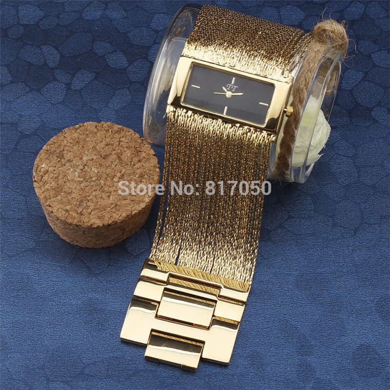 2016 New Fashion Women Dress Quartz Watches Luxury Ball Rectangle Case Broad Tassel Steel Chain Strap Bracelet Wrist Watch