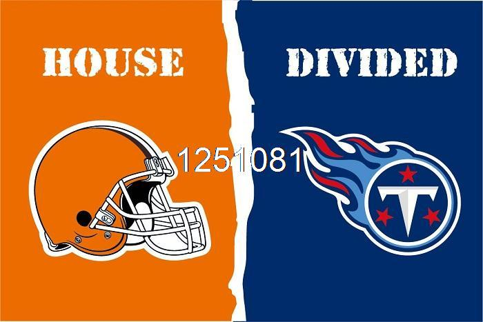 Cleveland Browns Tennessee Titans House Divided Flag 3ft X