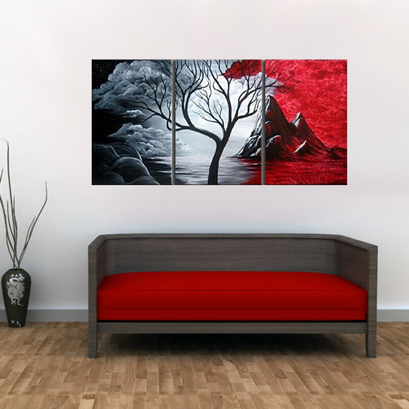 Large wall art abstract series tree painting colorful landscape paintings canvas picture for home decoration free shipping in painting calligraphy from