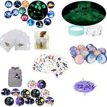 72pcs Outer Space Party Favors Tattoo Bracelet Badge Luminous Ball Accessories Kids Birthday Gift Stocking Stuffers