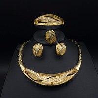 Top Fashion Dubai Africano Contas Conjuntos de Jóias de ouro-cor Casamento Nupcial mulheres Colar exaggerate ear cuff Brinco pulseira anel