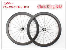 Top end carbon fiber wheelset for road bike , 700C carbon clincher 50mm  23mm  with CHRIS KING R45 hubs , Stiffness and Stable