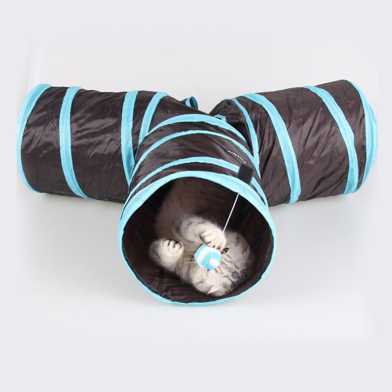 Pet cat ring paper three way tunnel can be folded into Cat passageway puzzle cat toy barrel hedgehog rabbit toy.